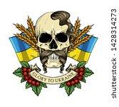 hand drawn color sketch  skull... | Shutterstock .eps vector #1428314273
