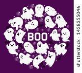 ghost pattern vector cartoon... | Shutterstock .eps vector #1428355046