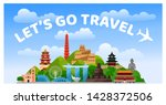 travel to asia. let's go travel ... | Shutterstock .eps vector #1428372506