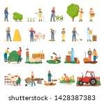 man spraying bushes vector ... | Shutterstock .eps vector #1428387383