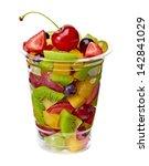 Fruit Salad In Takeaway Cup On...