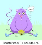 funny purple cat smiling.... | Shutterstock .eps vector #1428436676