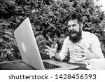 hipster busy with freelance.... | Shutterstock . vector #1428456593