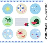 set of summer beach icons  ...