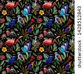 Seamless Pattern. Birds In A...