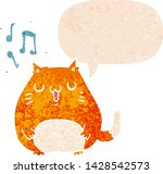 cartoon cat singing with speech ... | Shutterstock .eps vector #1428542573