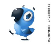 Stock photo character design of blue funny little walking parrot with big head with cute big eye and a small 1428558566