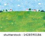 country town meadow and houses   Shutterstock . vector #1428590186