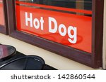 text with hot dog on a bistro...   Shutterstock . vector #142860544