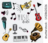 music doodle icons over white... | Shutterstock .eps vector #142862026