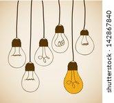 bulbs design over vintage...   Shutterstock .eps vector #142867840