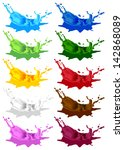 colored paint splashes. vector... | Shutterstock .eps vector #142868089