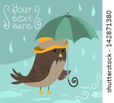 mr sparrow with umbrella. the... | Shutterstock .eps vector #142871380