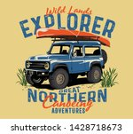 off road car and rivers canoe... | Shutterstock .eps vector #1428718673