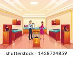 jewellery store with seller and ... | Shutterstock .eps vector #1428724859