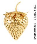 Gold Strawberry Isolated On...