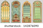 stained glass windows with... | Shutterstock .eps vector #142876090