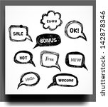 sketchy speech and thought... | Shutterstock .eps vector #142878346