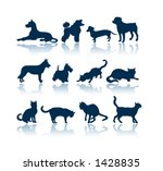 Stock photo dogs and cats silhouettes 1428835