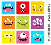 monster head set. square head....   Shutterstock .eps vector #1428858989