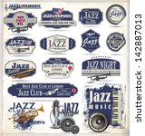 jazz music stamps and labels | Shutterstock .eps vector #142887013