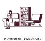 silhouette of man with book in... | Shutterstock .eps vector #1428897353