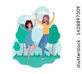 couple dancing in landscape...   Shutterstock .eps vector #1428897509