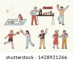 people who enjoy drinking beer. ... | Shutterstock .eps vector #1428921266