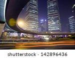 traffic through modern city at...   Shutterstock . vector #142896436