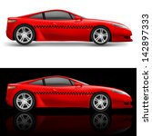 red sports car taxi.... | Shutterstock .eps vector #142897333