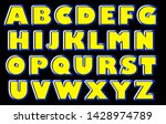 bold bright yellow and blue abc   Shutterstock . vector #1428974789
