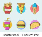 fast food colorful vector... | Shutterstock .eps vector #1428994190