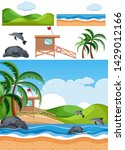 set of beach scenes illustration | Shutterstock .eps vector #1429012166