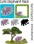 a pack of cute elephant... | Shutterstock .eps vector #1429012196