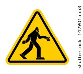Stock vector attention bigfoot caution yeti yellow triangle road sign 1429015553