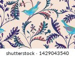 seamless pattern with birds and ... | Shutterstock . vector #1429043540