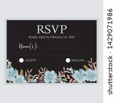 floral wedding rsvp reply card...   Shutterstock .eps vector #1429071986