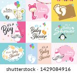 baby shower invitation template ... | Shutterstock .eps vector #1429084916