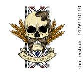 hand drawn color sketch  skull... | Shutterstock .eps vector #1429110110