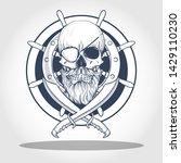 hand drawn sketch  pirate skull ... | Shutterstock .eps vector #1429110230