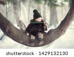 little cute boy with two owl... | Shutterstock . vector #1429132130