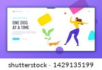 Stock vector girl walking with dachshund dog outdoors woman spend time playing with pet relaxing leisure 1429135199