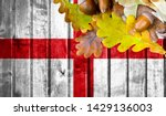 england flag on autumn wooden... | Shutterstock . vector #1429136003