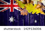 australia flag on autumn wooden ... | Shutterstock . vector #1429136006