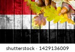 egypt flag on autumn wooden... | Shutterstock . vector #1429136009
