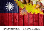 taiwan flag on autumn wooden... | Shutterstock . vector #1429136033