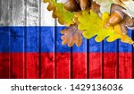 russia flag on autumn wooden... | Shutterstock . vector #1429136036
