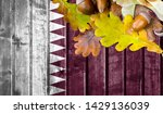 qatar flag on autumn wooden... | Shutterstock . vector #1429136039