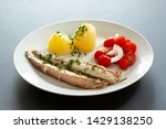 Stock photo mackerel fish dish with potatoes chives and tomato salad fatty oily fish is an excellent and 1429138250
