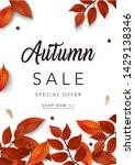 autumn sale poster. sale and... | Shutterstock .eps vector #1429138346